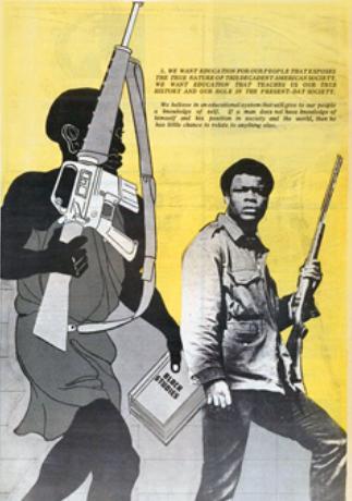 Dessin d'Emory Douglas illustrant le point 5 du Programme en 10 points du BPP et la doctrine de l'autodéfense armée