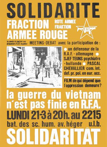 Affiche du Comité de soutien aux prisonniers de la RAF appelant à un meeting de solidarité à l'ULB