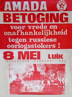 Affiche AMADA/TPO - Manifestation à Liège pour la liberté et l'independance contre les fauteurs de guerre russes
