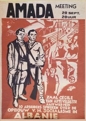 Affiche AMADA - Meeting à Anvers - 10 travailleurs parlent de la construction du socialisme en Albanie
