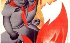L'union du prolétariat exterminera le fascisme (On remarque les deux foulards: l'un rouge, l'autre noir et rouge)