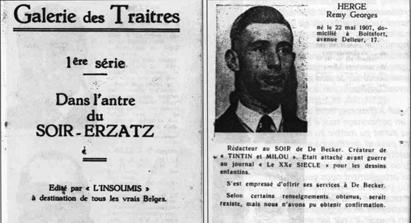 A la Libération Hergé figure dans la