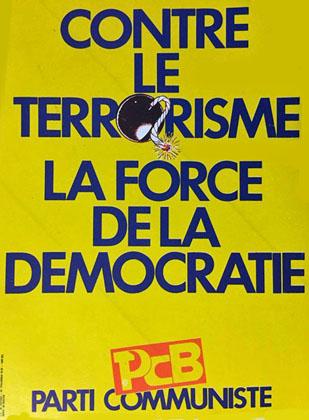 """Sticker du vieux Parti """"communiste"""" de Belgique louant """"la force"""" de la """"démocratie"""" bourgeoise"""