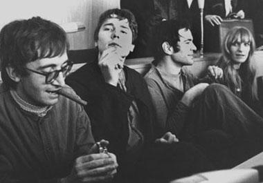 Thorwald Proll, Horst Söhnlein, Andreas Baader, Gudrun Ensslin, octobre 1968, lors du procès pour incendie.