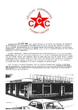 Tract de la première action des Cellules communistes Combattantes