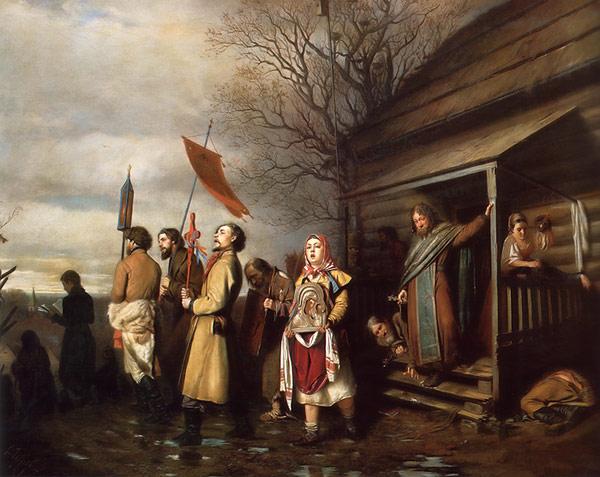 Vassili Perov-La procession pascale dans un village