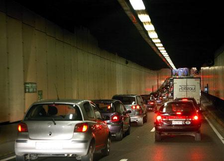 Le tunnel Léopold II en heure de pointe