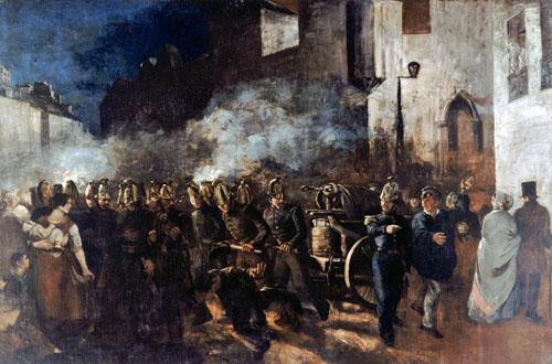 Pompiers courant à un incendie (1819)