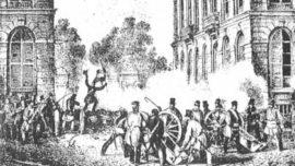 23 septembre 1830 : artillerie des patriotes devant le parc de Bruxelles