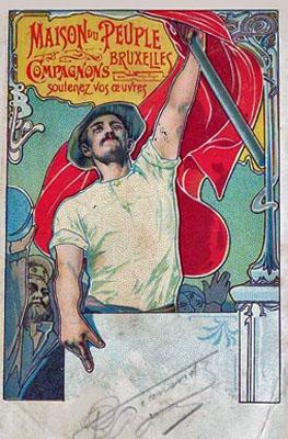Affiche de Jules van Biesbroeck pour l'ouverture de la Maison du Peuple (construite par Victor Horta) à Bruxelles en 1899