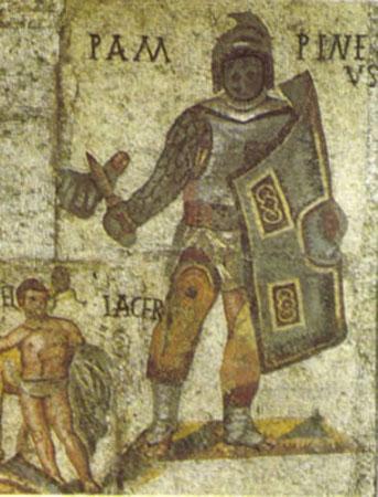Mosaïques romaines avec combats de gladiateurs (Musée Borghese, Rome)