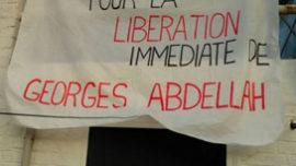 """Calicot de l'""""Appel belge pour la libération de GIA"""". Relevons ici l'erreur dans le patronyme du militant emprisonné"""