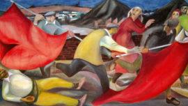 """Forces murales (Louis Deltour, Edmond Dubrunfaut, Roger Somville) """"Assassinat de Tayenne à Roux en 1932"""""""