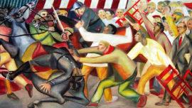 """Forces murales (Louis Deltour, Edmond Dubrunfaut, Roger Somville) """"Les grandes grèves de 1950 à Bruxelles"""""""