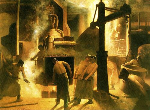 Constantin Meunier - La coulée à Ougrée