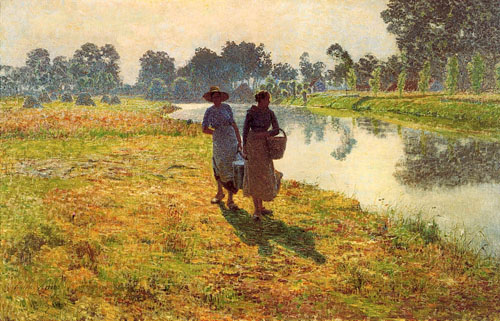 Émile Claus - Jeunes paysannes marchant sur les bords de la Lys