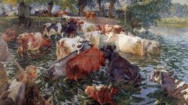 Émile Claus - Vaches traversant la Lys / Passage des vaches