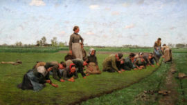 Émile Claus - Vlaswieden in Vlaanderen (Désherbage manuel du lin en Flandre)