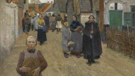 Frans Van Leemputten - Brooduitdeling in het dorp (Distribution de pain dans le village)