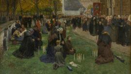 Frans Van Leemputten - De kaarskensprocessie te Scherpenheuvel (La procession aux chandelles à Scherpenheuvel) Panneau central