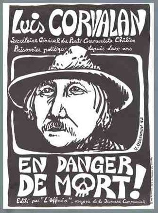 Affiche réalisée en 1975 par la Jeunesse du vieux PC révisionniste de Belgique dans le cadre de sa campagne de soutien au renégat Corvalan