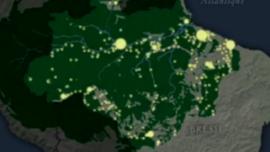 La lumière des villes dans l'Amazonie