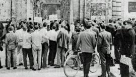 Université de Louvain, 17 mai 1966 : manifestation contre les autorités académiques.
