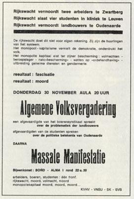 Affiche appelant à une manifestation massive-unitaire entre SVB, KVHV, VNSU et SK