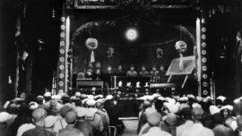 Cérémonie de fondation de la république soviétique chinoise, le 7 novembre 1931, dans la province du Kiangsi (ou Jiangxi)