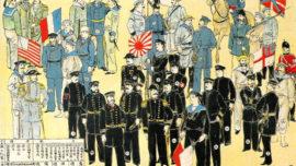 Une image japonaise de 1900 montrant l'Alliance anti-boxeurs dite des huit nations, avec leurs drapeaux navals respectifs (Italie, États-Unis, France, Autriche-Hongrie, Japon, Allemagne, Russie et Royaume-Uni)