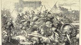Représentation britannique de la prise des forts du Peï-Ho en 1860, avec les troupes franco-britanniques menant une vaste offensive contre la Chine, amenant l'occupation de Tianjin, puis de Pékin.