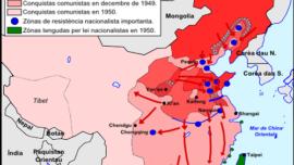 En rouge foncé les zones libérées en 1946, puis leur expansion