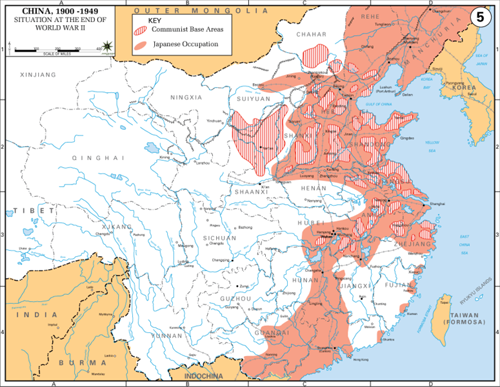 Carte de l'armée américaine montrant la situation à la fin de la seconde guerre mondiale. Les zones en rouge sont sous occupation japonaise, celles hachurées sont des bases de l'Armée Populaire de Libération.