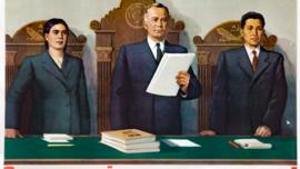 """""""Cour soviétique - la cour du peuple !"""" : tableau de V. Suryaninov, 1951"""