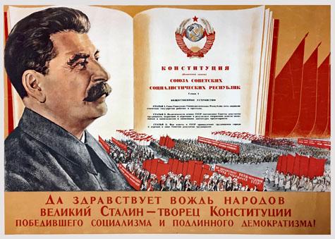 Vive le dirigeant du peuple le grand Staline – créateur de la constitution du socialisme victorieux et de la démocratie authentique !
