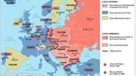 Carte de l'Europe de la période suivant 1945, avec une lecture bourgeoise des blocs