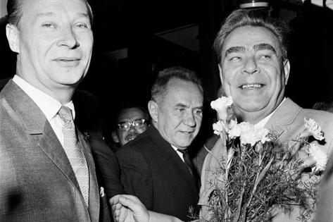 Alexander Dubček et Léonid Brejnev