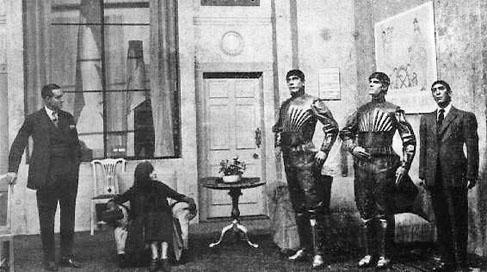 Mise en scène initiale de la pièce R. U. R. (pour Rossum's Universal Robots) de Karel Čapek, introduisant en 1920 le terme de robots