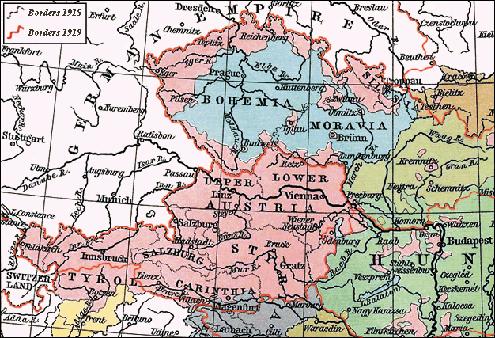 En rose la population germanophone relevant historiquement de l'Autriche, en bleue la partie tchèque