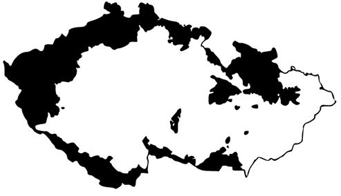Les zones relevant des Sudètes, d'où la population allemande fut expulsée