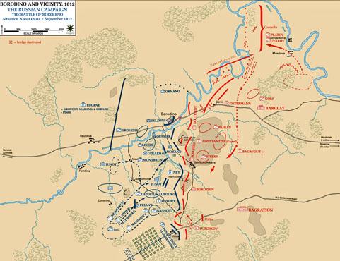 Plan de la bataille de Borodino, en septembre 1812