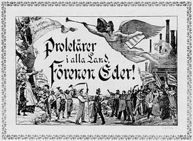 Prolétaires de tous les pays, unissez-vous ! Version suédoise de la gravure d'Otto Marcus, en 1900