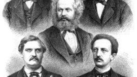 Les fondateurs de la social-démocratie allemande, avec Karl Marx au centre, en haut August Bebel et Wilhelm Liebknecht pour la tradition du SDAP, en bas Carl Wilhelm Tölcke et Ferdinand Lassalle pour celle de l'ADAV