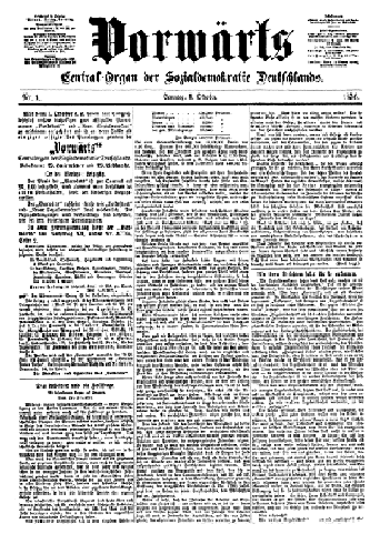 Premier numéro du Vorwärts, le premier octobre 1876