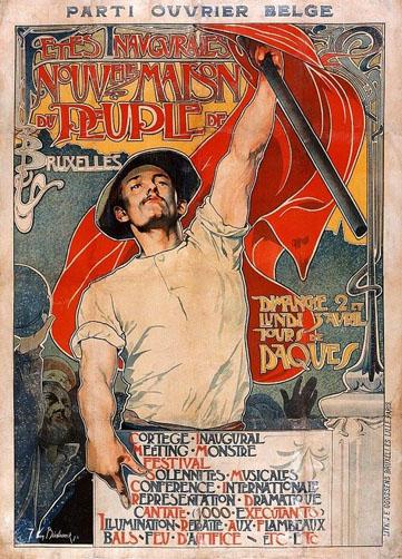 Affiche de Jules van Biesbroeck pour l'ouverture de la Maison du Peuple à Bruxelles en 1899