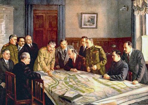 Staline, dirigeant une réunion concernant le plan de transformation de la nature, avec l'établissement de larges forêts.