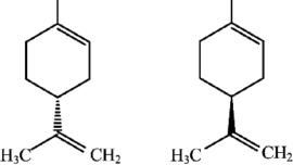 Représentation de Cram du (R)-Limonène et du (S)-Limonène. La liaison entre un atome dans le plan et un atome en avant est représentée par le triangle plein ; la liaison entre un atome dans le plan et un atome en arrière est représentée par le triangle hachuré.