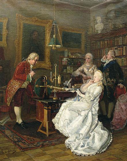 L'illustre Mikhaïl Lomonossov, avec Catherine II de Russie, tels que vu par Ivan Kuzmich Fedorov, en 1884.