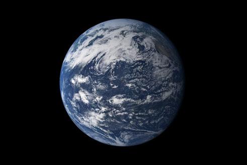 La planète bleue, image synthétisée à partir des données d'un satellite de la NASA.