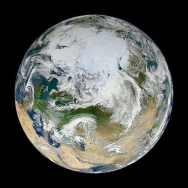 La Terre. Image synthétisée à partir de données d'un satellite de la NASA.